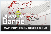 Map: Poppies on Street Signs