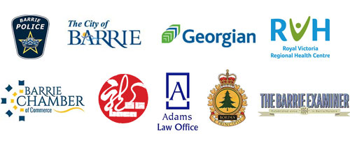 logos: Barrie Police, The City of Barrie, Georgian College, RVH, Barrie and Area Chinese Community Association, Adams Law Office, CFB Borden, Barrie Chamber of Commerce, and the Barrie Examiner
